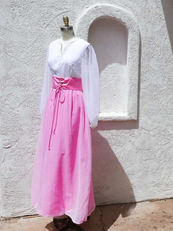 Pink Maxi Dress, 60s PInk Prom, Long Sleeve Formal