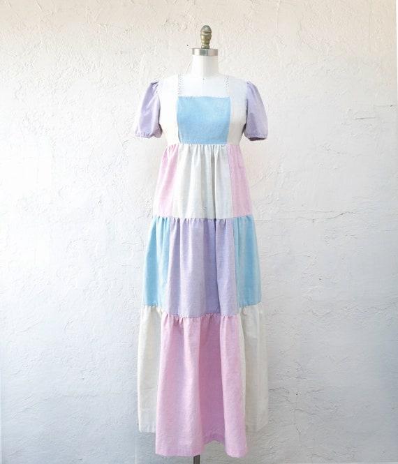 Pastel Patchwork Maxi Dress with Empire Waist