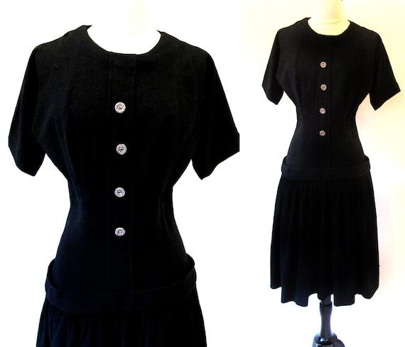 50s Black, Drop Waist, Wool Dress