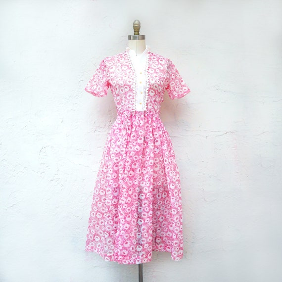 1950s Pink Organdy Full Skirt Dress XSmall