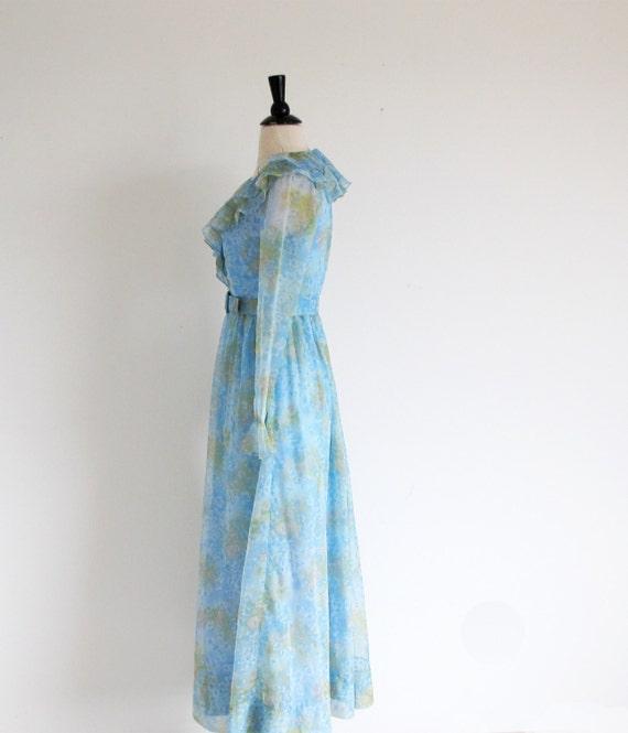 Vintage 60s Boho Maxi, Long Sleeve Dress, Long 19… - image 5