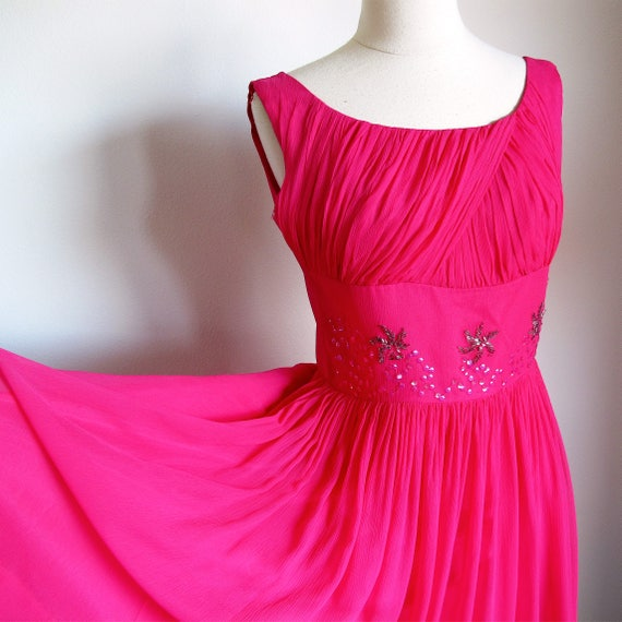 1950s  Hot Pink Dress, Size S, Party Dress,  Chiff