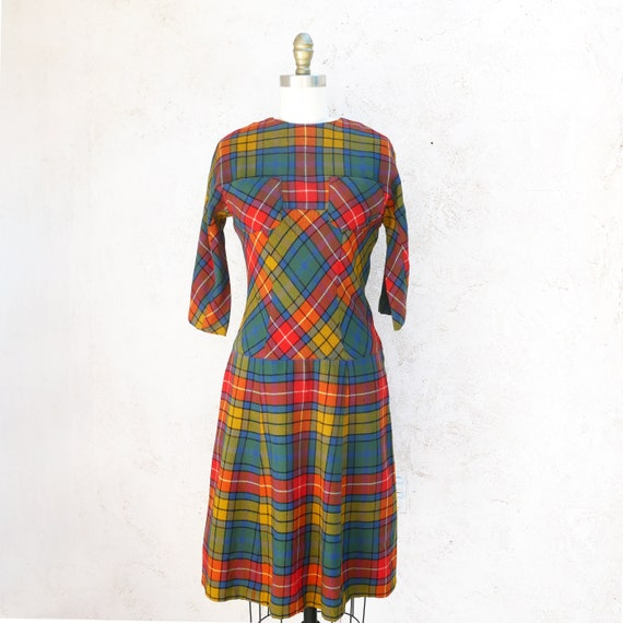 Vintage Fall Dress, 1950s Wool Plaid Fit and Flare