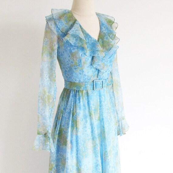 Vintage 60s Boho Maxi, Long Sleeve Dress, Long 19… - image 3