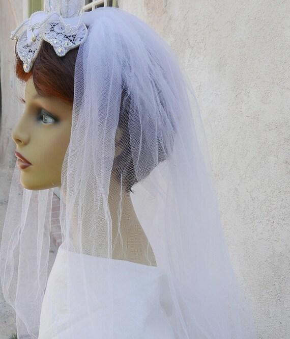 Veils Headpieces Short: Vintage Short Wedding Veil With Headpiece