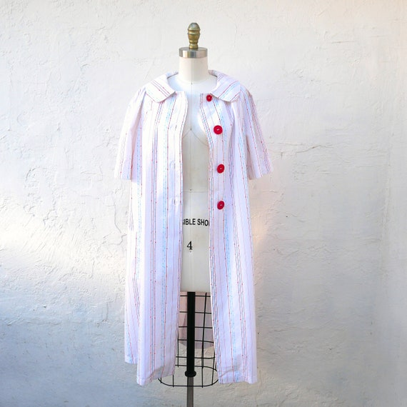 1950s White Cotton Robe