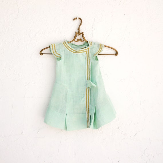 Antique Victorian Summer Baby Dress, Green Toddler