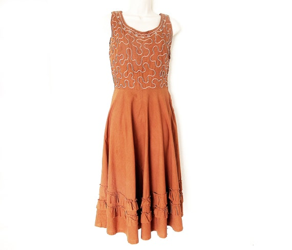 50s Sleeveless XS Cotton Rockabilly Dress, Full Ci
