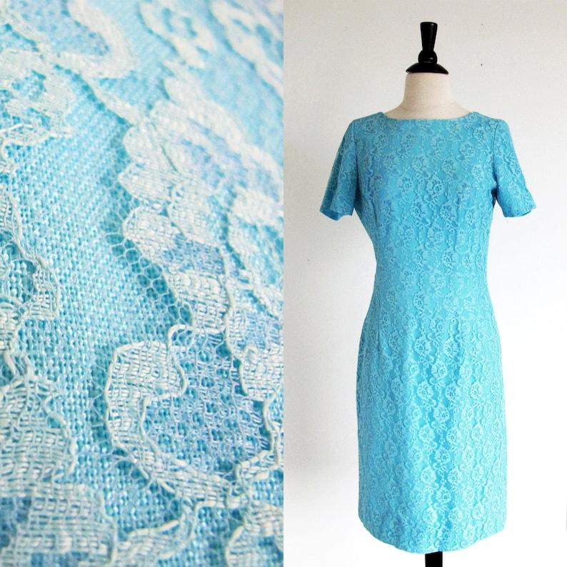 50s Short Sleeve Blue Dress, Lace Dress Cotton Blend Semi Formal