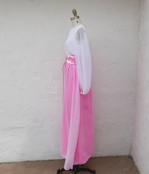 Pink Maxi Dress, 60s PInk Prom, Long Sleeve Formal - image 7