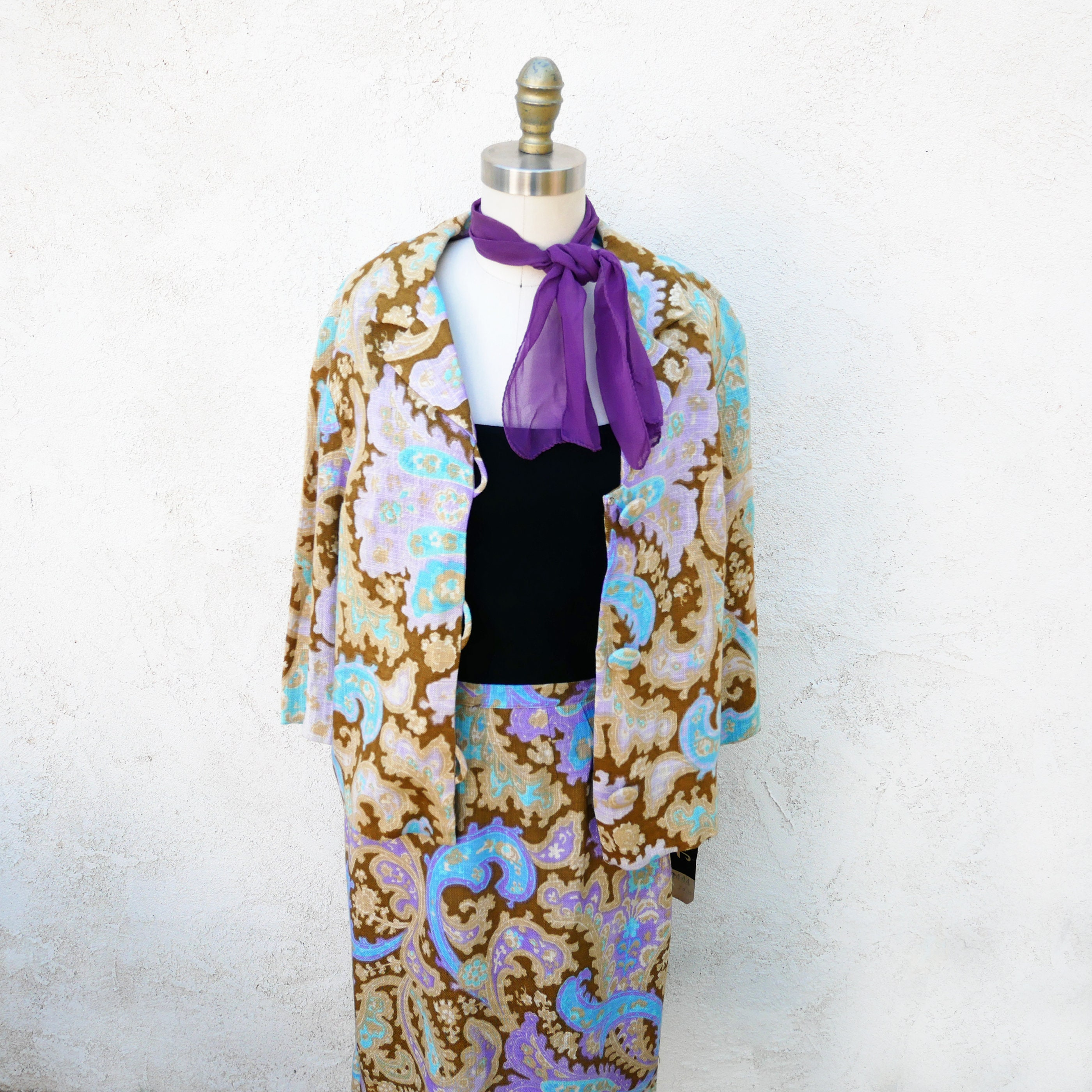 Vintage Scarf Styles -1920s to 1960s 1960S Paisley Skirt Suit, Nwt $58.00 AT vintagedancer.com