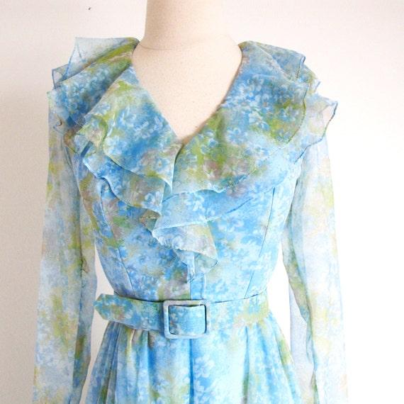 Vintage 60s Boho Maxi, Long Sleeve Dress, Long 19… - image 2