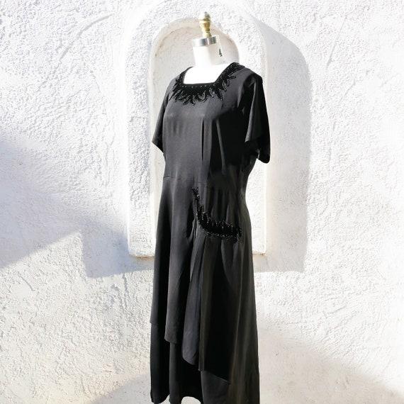 1930s Black Rayon Dress with Velvet Trim