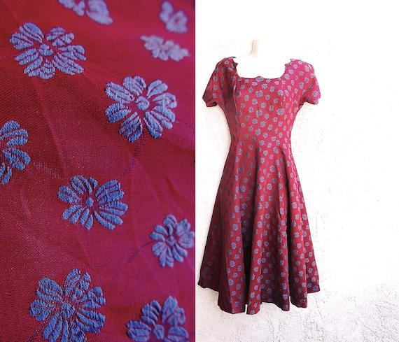 1950s Plum  Rockabilly Dress, XS