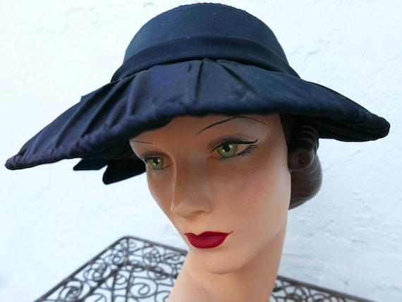 Antique Victorian Bonnet, Black Steampunk Hat - image 1
