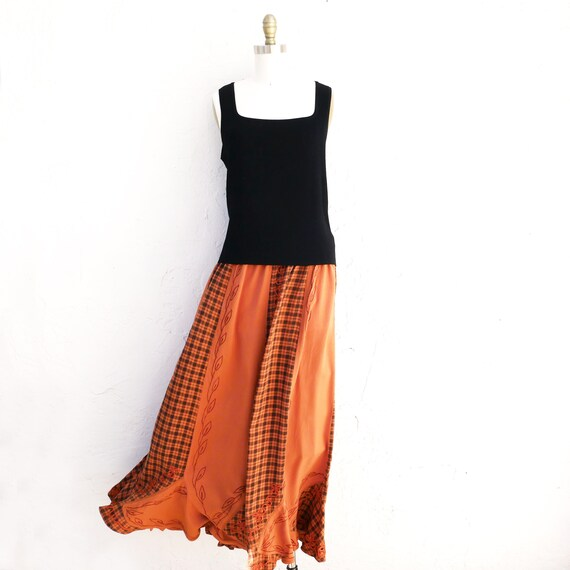 Rusty Orange Long Panel Boho Skirt