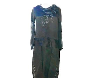 1920s Flapper, Size S, Black Satin Beaded Great Gatsby Charleston Dress
