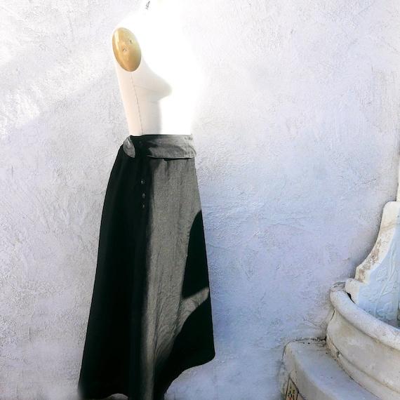 1900s Long Edwardian Skirt,  Black Silk Victorian