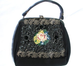 Vintage 50s Beaded Handbag, Embellished Black Purse