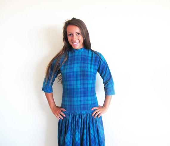 50s Plaid Wool Dress by Jonathan Logan