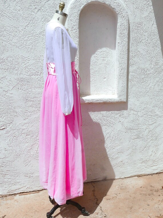 Pink Maxi Dress, 60s PInk Prom, Long Sleeve Formal - image 5