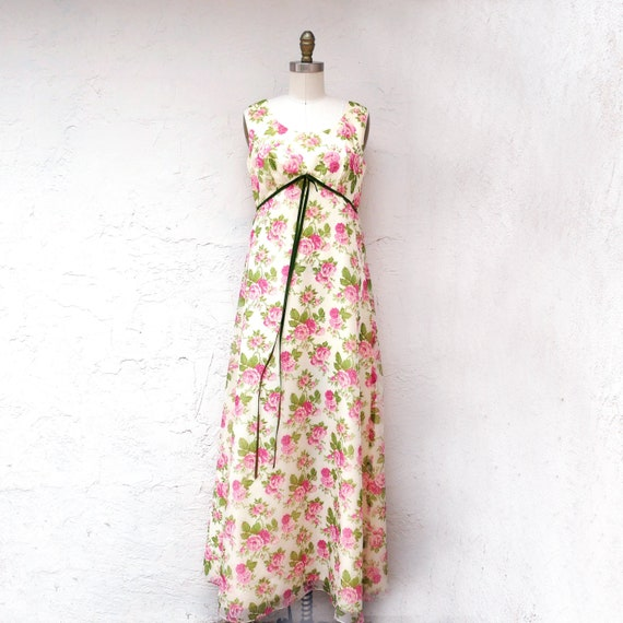60s Floral Prom Dress, Size M Bridesmaid dress