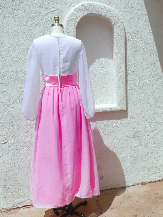 Pink Maxi Dress, 60s PInk Prom, Long Sleeve Formal - image 4