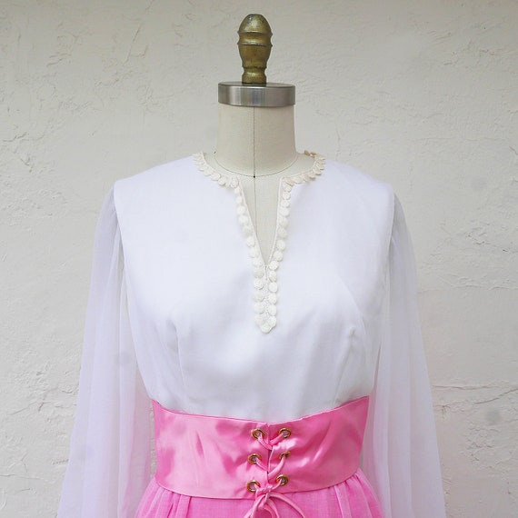 Pink Maxi Dress, 60s PInk Prom, Long Sleeve Formal - image 3
