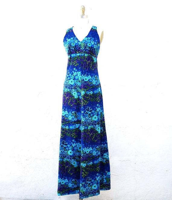 70s Floral Dress, Long Blue Boho Dress