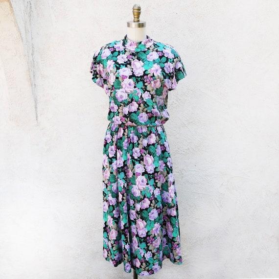 1980s Floral Dress