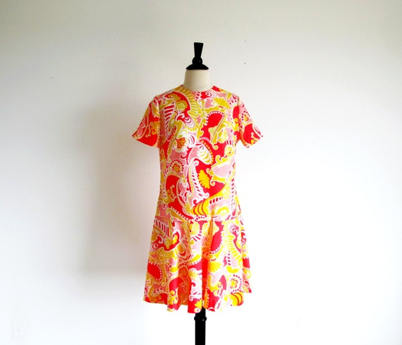 1960s Mod Dress, Psychedelic Drop Waist Print Dres