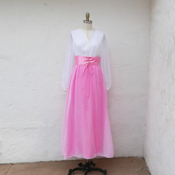 Pink Maxi Dress, 60s PInk Prom, Long Sleeve Formal - image 2