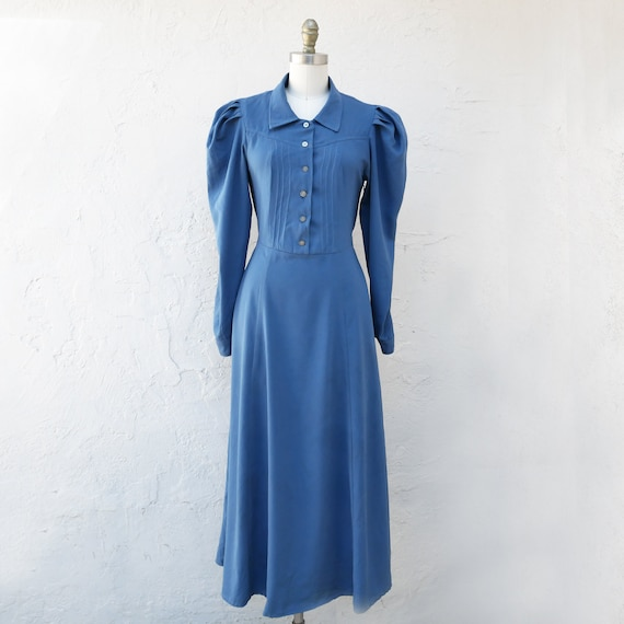 70s Blue Prairie Dress, Plain and Simple