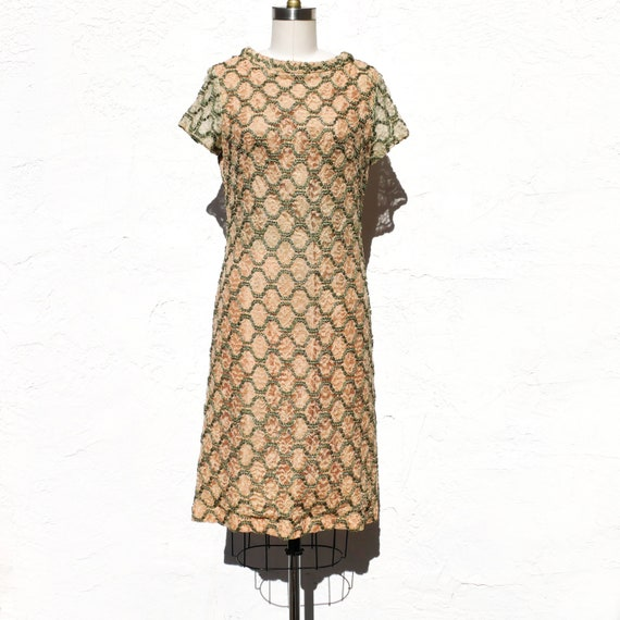 60s Twiggy Dress, Lace Mod Sheath Dress