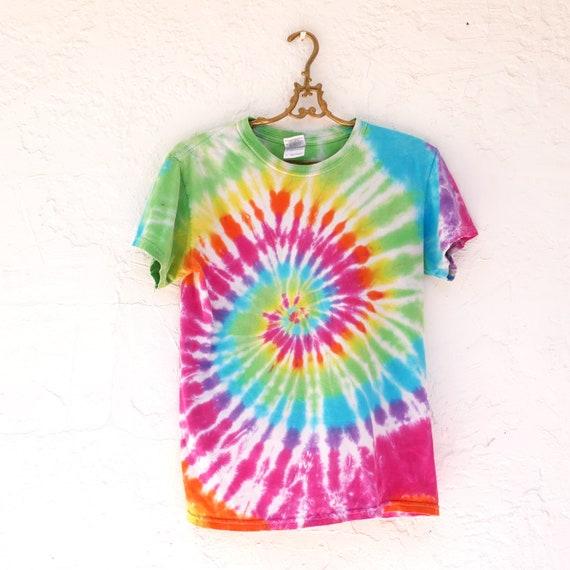 Colorful Rainbow Swirl Tie Dye Shirt, Mens S