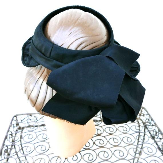 Antique Victorian Bonnet, Black Steampunk Hat - image 5