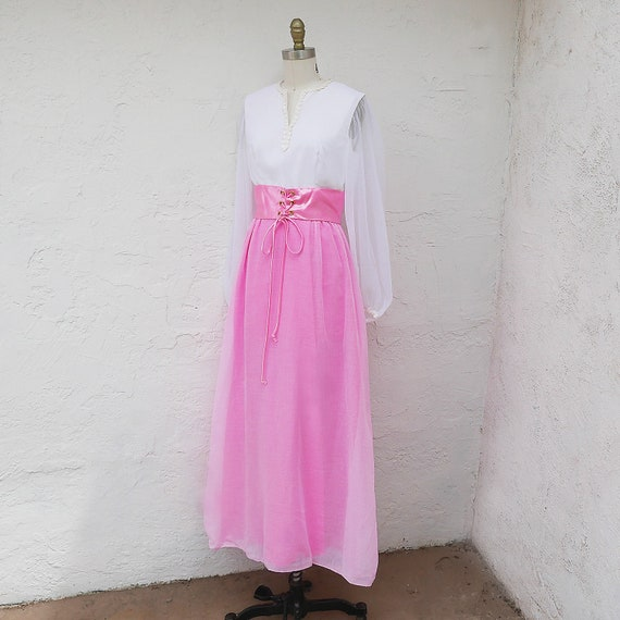 Pink Maxi Dress, 60s PInk Prom, Long Sleeve Formal - image 6