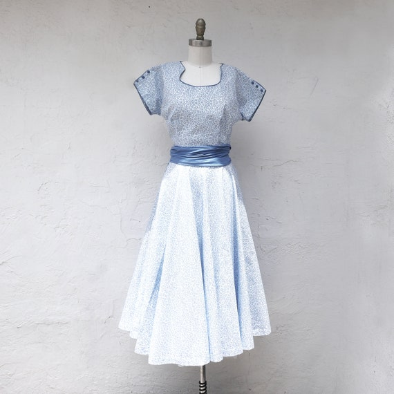 1950s Tea Length Circle Skirt with Matching Top