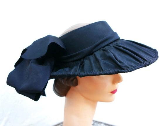 Antique Victorian Bonnet, Black Steampunk Hat - image 4