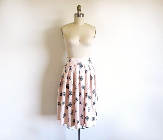 50s Cotton Skirt,  Novelty Print Skirt, Atomic