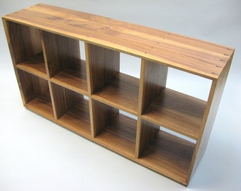 Quartered walnut bookcase with open back