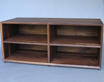 Solid walnut shoe bench