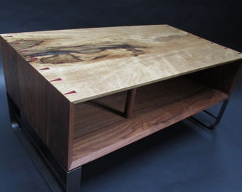 Walnut/black limba coffee table with