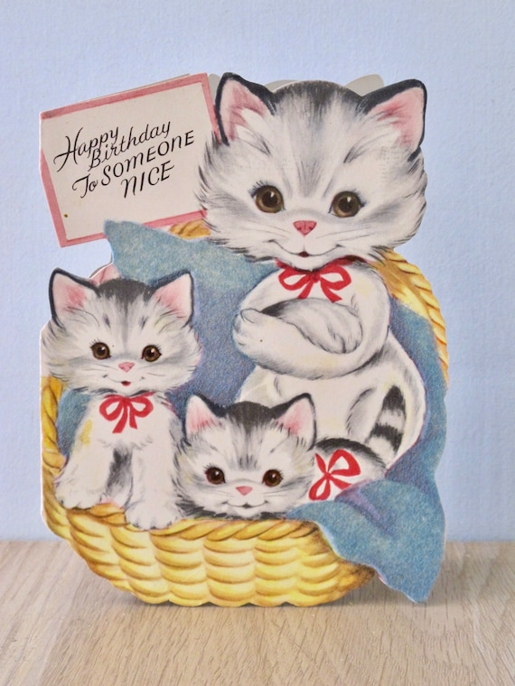 Vintage Cat And Kittens Birthday Card Gibson