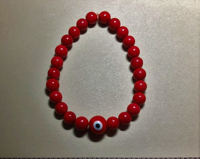Evil Eye Beaded Bracelet in Red