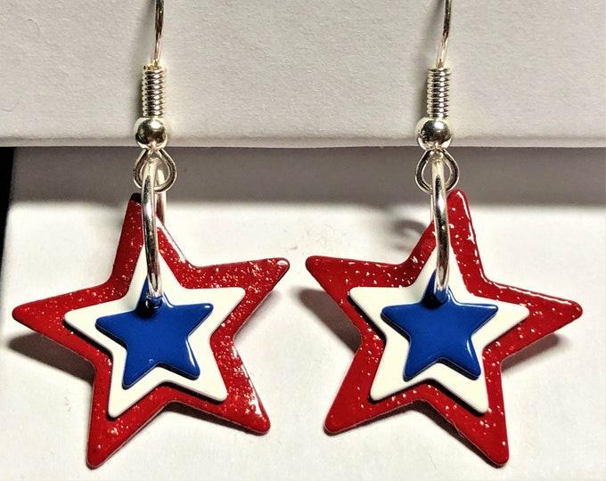 Patriotic Red, White & Blue Star Earrings