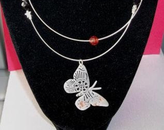 Double Strand Silver Butterfly Necklace
