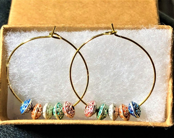 Gold Hoop Earrings with Multi-Color Beads