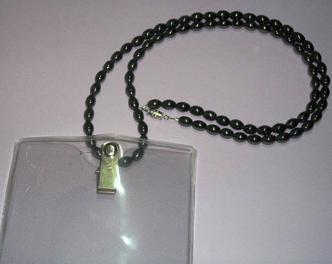 Hematite Bead Lanyard Badge Holder