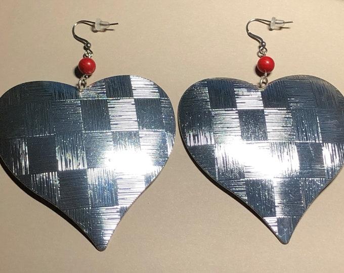 Big Heaarted Silver Metal Earrings